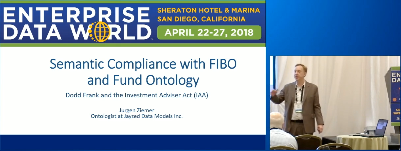 Jurgen Ziemer presents Semantic Compliance at FIBO EDW 2018, San Diego.
